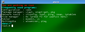 Vector Linux offers a few common commands listed when you use a terminal emulator